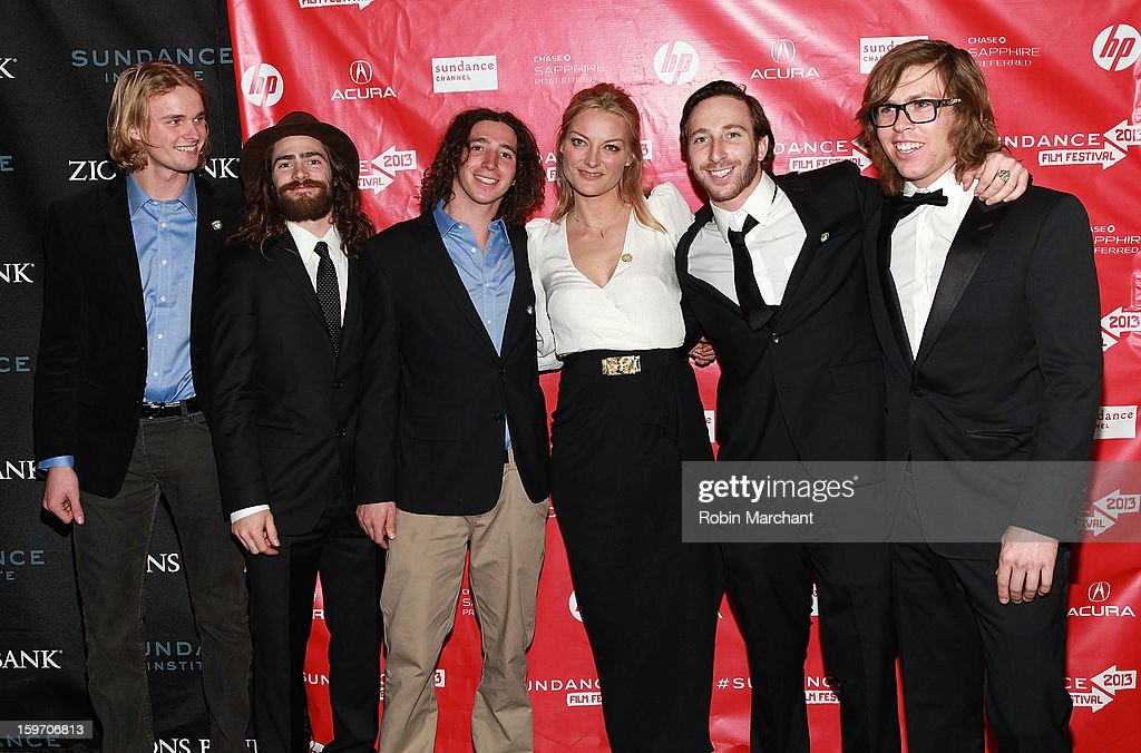 Mikkel Bang, Danny Davis, Luke Mitrani, Director Lucy Walker, Jack Mitrani and American snowboarder Kevin Pearce attends 'The Crash Reel' Premiere at Rose Wagner Performing Arts Center on January 18, 2013 in Salt Lake City, Utah.