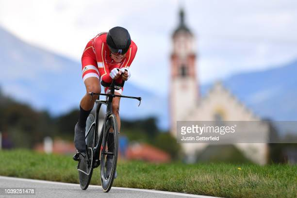 Mikkel Bjerg of Denmark / during the Individual Time Trial Men Under 23 a 278km race from Wattens to Innsbruck 582m at the 91st UCI Road World...