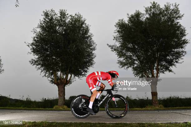 Mikkel Bjerg of Denmark sprints during the 94th UCI Road World Championships 2021 - Men Elite ITT a 43,3km Individual Time Trial race from...