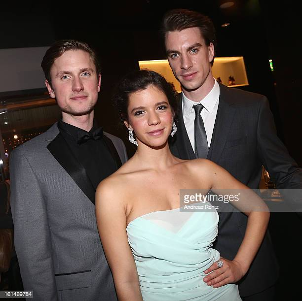 Mikkel Boe Folsgaard Ada Condeescu and Jure Henigman attend 'BMW Golden Bear Lounge' at the 63rd Berlinale International Film Festival on February 11...