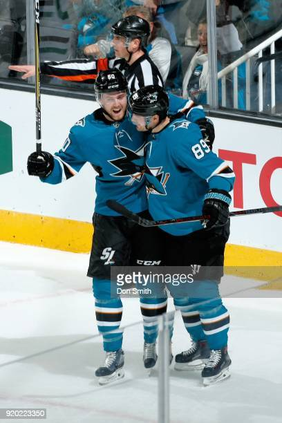 Mikkel Boedker and Chris Tierney of the San Jose Sharks celebrate Boedker's goal in the first period against the Dallas Stars at SAP Center on...