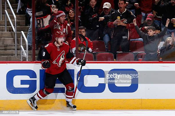 Mikkel Boedker of the Arizona Coyotes celebrates after scoring a hat trick goal against the Ottawa Senators during the third period of the NHL game...