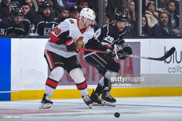 Mikkel Boedker of the Ottawa Senators and Martin Frk of the Los Angeles Kings battle for position during the third period at STAPLES Center on March...