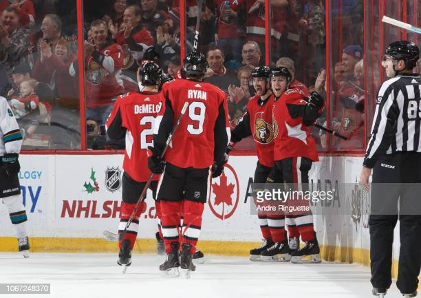 Mikkel Boedker of the Ottawa Senators celebrates his second period goal against the San Jose Sharks with teammates Dylan DeMelo Bobby Ryan and Chris...