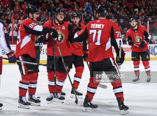 Mikkel Boedker of the Ottawa Senators celebrates with teammates Mark Borowiecki Bobby Ryan and Chris Tierney after scoring goal on the Columbus Blue...