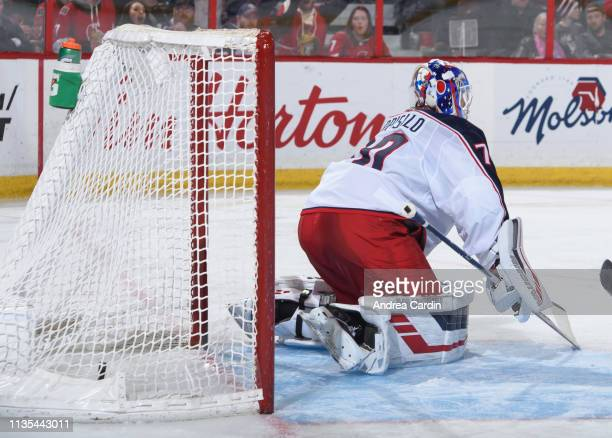 Mikkel Boedker of the Ottawa Senators scores a third period goal on Joonas Korpisalo of the Columbus Blue Jackets at Canadian Tire Centre on April 6...