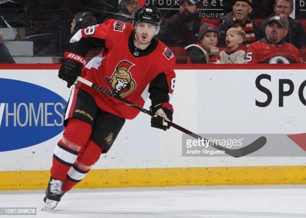 Mikkel Boedker of the Ottawa Senators skates against the Boston Bruins at Canadian Tire Centre on December 9 2018 in Ottawa Ontario Canada