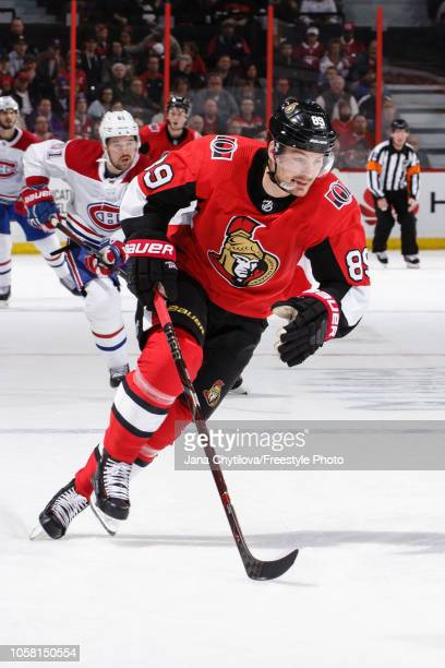 Mikkel Boedker of the Ottawa Senators skates against the Montreal Canadiens at Canadian Tire Centre on October 20 2018 in Ottawa Ontario Canada