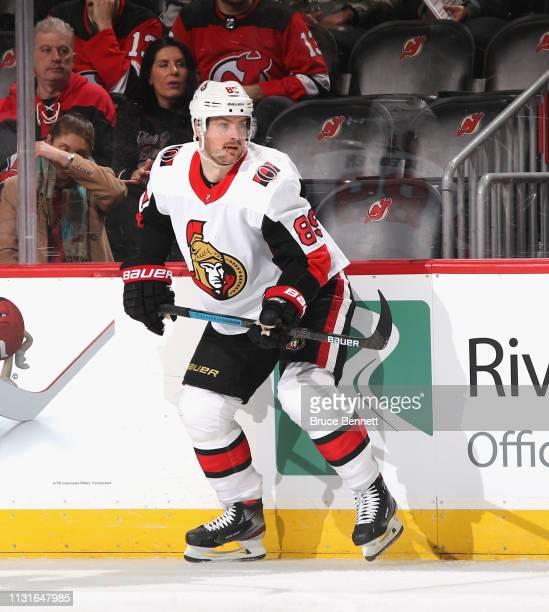 Mikkel Boedker of the Ottawa Senators skates against the New Jersey Devils at the Prudential Center on February 21 2019 in Newark New Jersey