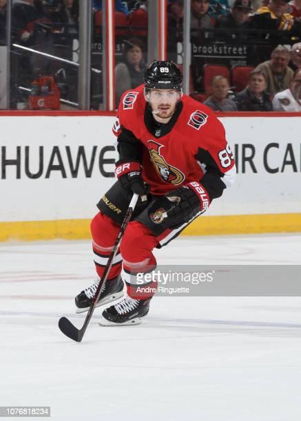 Mikkel Boedker of the Ottawa Senators skates against the San Jose Sharks at Canadian Tire Centre on December 1 2018 in Ottawa Ontario Canada