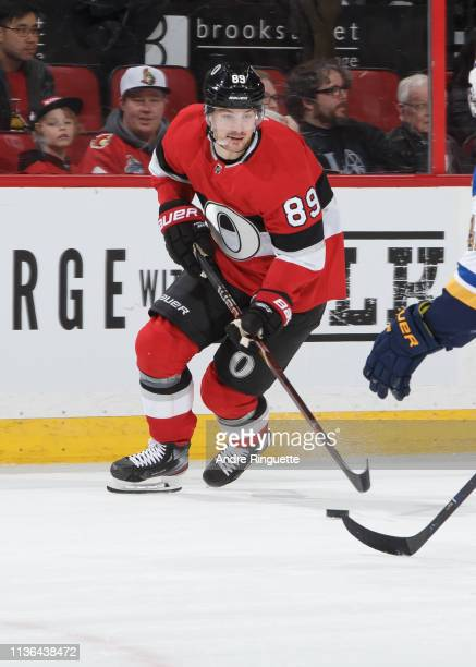 Mikkel Boedker of the Ottawa Senators skates against the St Louis Blues at Canadian Tire Centre on March 14 2019 in Ottawa Ontario Canada