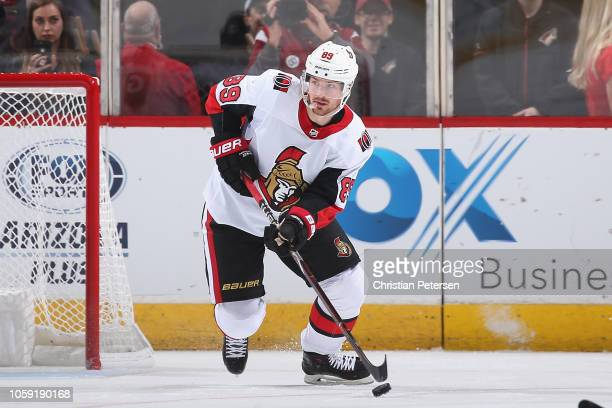 Mikkel Boedker of the Ottawa Senators skates with the puck during the NHL game against the Arizona Coyotes at Gila River Arena on October 30 2018 in...