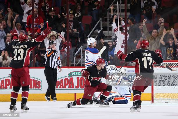 Mikkel Boedker of the Phoenix Coyotes celebrates after scoring a third period goal past goaltender Ilya Bryzgalov of the Edmonton Oilers in the NHL...