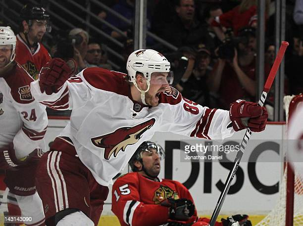 Mikkel Boedker of the Phoenix Coyotes celebrates his game-winning goal in overtime against the Chicago Blackhawks in Game Four of the Western...