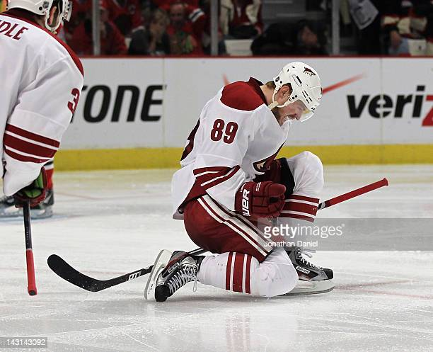 Mikkel Boedker of the Phoenix Coyotes celebrates his gamewinning goal in overtime against the Chicago Blackhawks in Game Four of the Western...