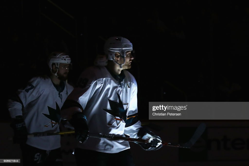 Mikkel Boedker #89 of the San Jose Sharks before the NHL game against the Arizona Coyotes at Gila River Arena on January 16, 2018 in Glendale, Arizona. The Sharks defeated the Coyotes 3-2 in an overtime shootout.