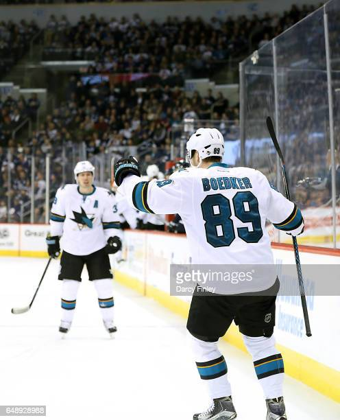 Mikkel Boedker of the San Jose Sharks celebrates after scoring a third period shorthanded goal against the Winnipeg Jets at the MTS Centre on March 6...