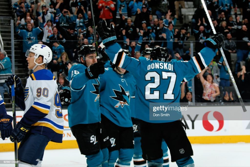 Mikkel Boedker #89 of the San Jose Sharks celebrates his third period goal against the St. Louis Blues with teammates Timo Meier #28 and Joonas Donskoi #27 at SAP Center on March 8, 2018 in San Jose, California.