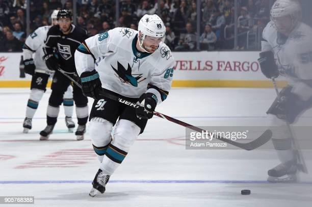 Mikkel Boedker of the San Jose Sharks handles the puck during a game against the Los Angeles Kings at STAPLES Center on January 15 2018 in Los...