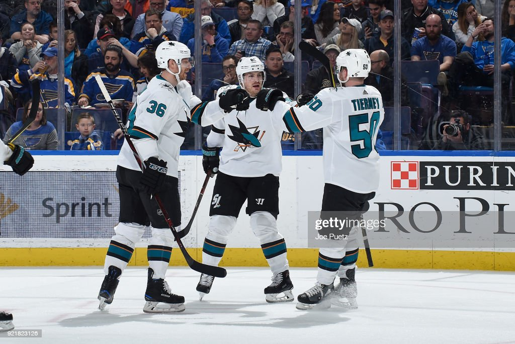 Mikkel Boedker #89 of the San Jose Sharks is congratulated by teammates after scoring a goal against the St. Louis Blues at Scottrade Center on February 20, 2018 in St. Louis, Missouri.