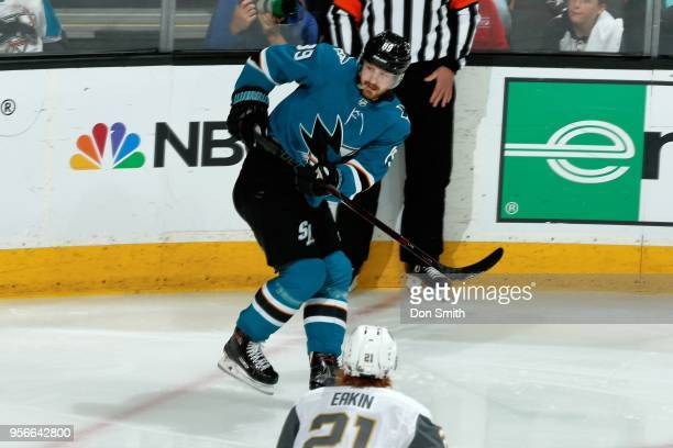 Mikkel Boedker of the San Jose Sharks looks in Game Six of the Western Conference Second Round against the Vegas Golden Knights during the 2018 NHL...