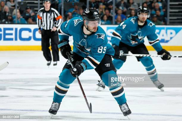 Mikkel Boedker of the San Jose Sharks looks on during a NHL game against the Minnesota Wild at SAP Center on April 7 2018 in San Jose California...