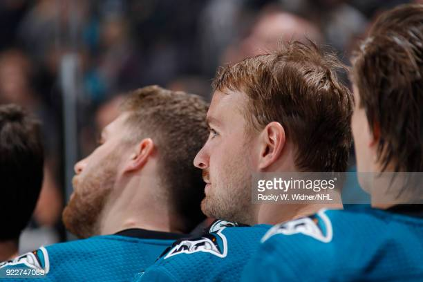 Mikkel Boedker of the San Jose Sharks looks on during the national anthem of the game against the Dallas Stars at SAP Center on February 18 2018 in...