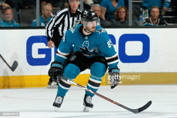 Mikkel Boedker of the San Jose Sharks looks on in Game Six of the Western Conference Second Round during the 2018 NHL Stanley Cup Playoffs at SAP...