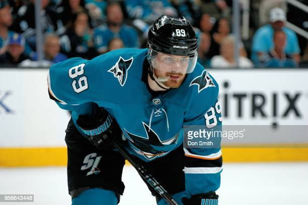 Mikkel Boedker of the San Jose Sharks looks on in Game Six of the Western Conference Second Round against the Vegas Golden Knights during the 2018...
