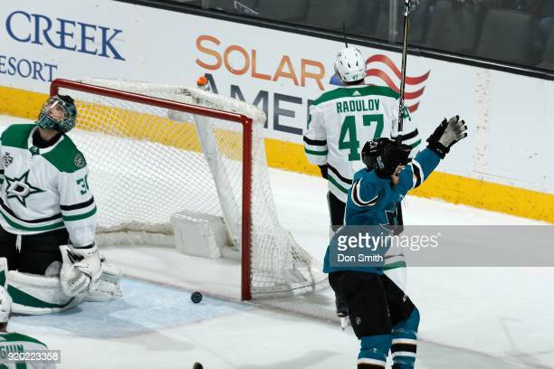 Mikkel Boedker of the San Jose Sharks reacts after scoring a goal in the first period against the Dallas Stars at SAP Center on February 18 2018 in...