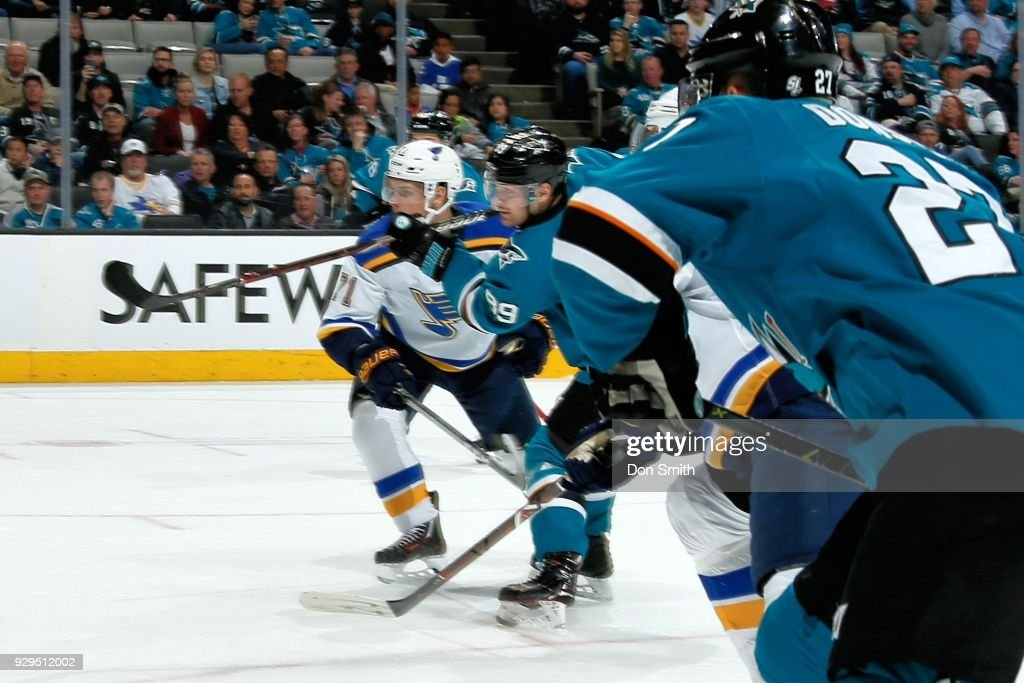 Mikkel Boedker #89 of the San Jose Sharks shoots and scores the game winning goal against the St. Louis Blues at SAP Center on March 8, 2018 in San Jose, California.