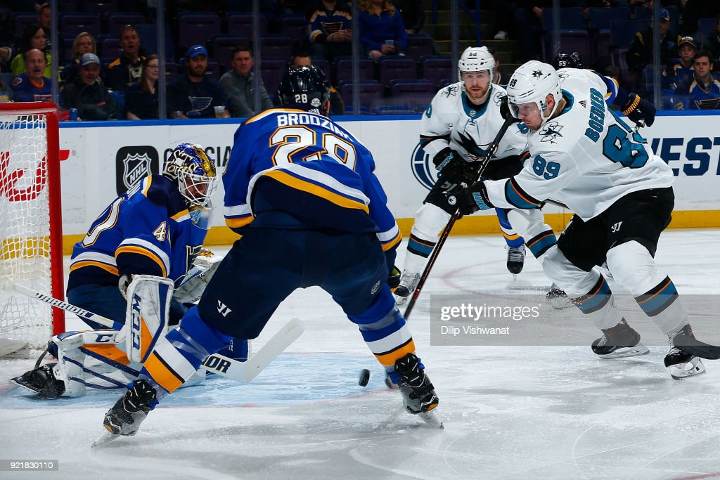 Mikkel Boedker #89 of the San Jose Sharks shoots the puck against Carter Hutton #40 of the St. Louis Blues at Scottrade Center on February 20, 2018 in St. Louis, Missouri.