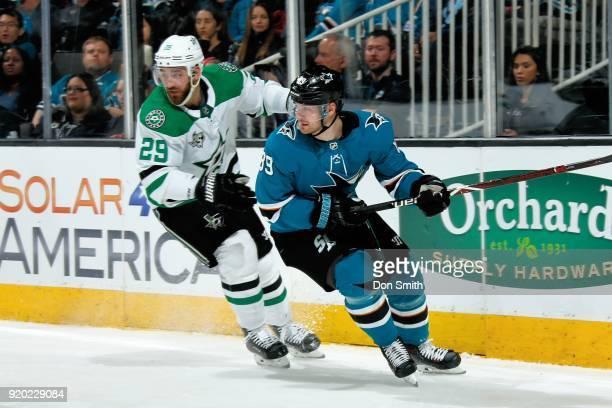 Mikkel Boedker of the San Jose Sharks skates against Greg Pateryn of the Dallas Stars at SAP Center on February 18 2018 in San Jose California
