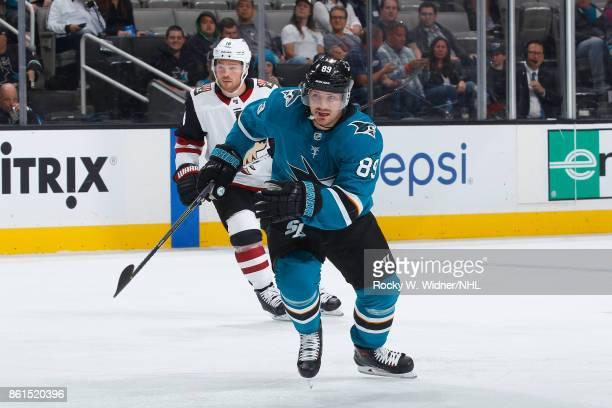 Mikkel Boedker of the San Jose Sharks skates against Max Domi of the Arizona Coyotes at SAP Center at San Jose on September 30 2017 in San Jose...
