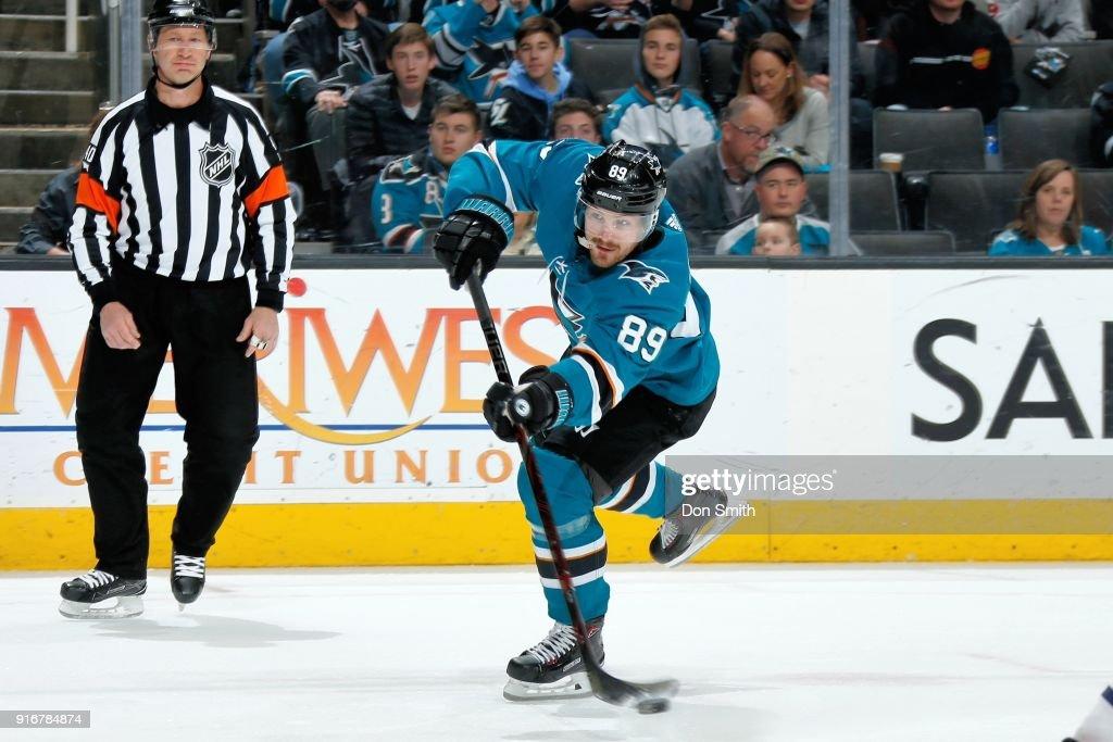 Mikkel Boedker #89 of the San Jose Sharks takes a shot against the Edmonton Oilers at SAP Center on February 10, 2018 in San Jose, California.