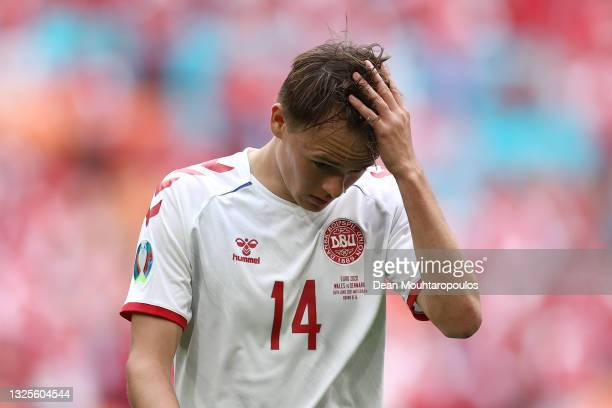 Mikkel Damsgaard of Denmark reacts during the UEFA Euro 2020 Championship Round of 16 match between Wales and Denmark at Johan Cruijff Arena on June...