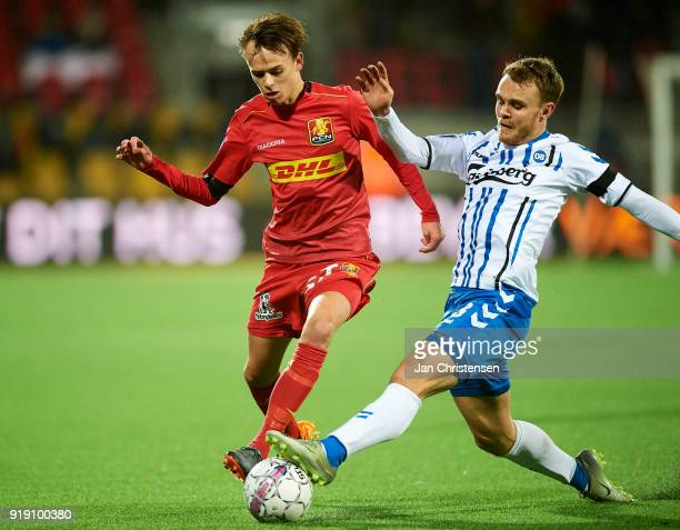Mikkel Damsgaard of FC Nordsjalland and Troels Klove compete for the ball during the Danish Alka Superliga match between FC Nordsjalland and OB...