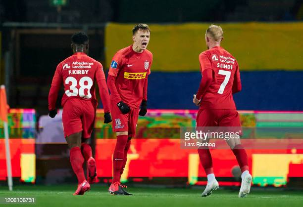 Mikkel Damsgaard of FC Nordsjalland celebrates after scoring their first goal during the Danish 3F Superliga match between FC Nordsjalland and...