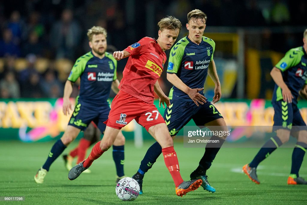 Mikkel Damsgaard of FC Nordsjalland compete for the ball during the Danish Alka Superliga match between FC Nordsjalland and Brondby IF at Right to Dream Park on April 22, 2018 in Farum, Denmark.