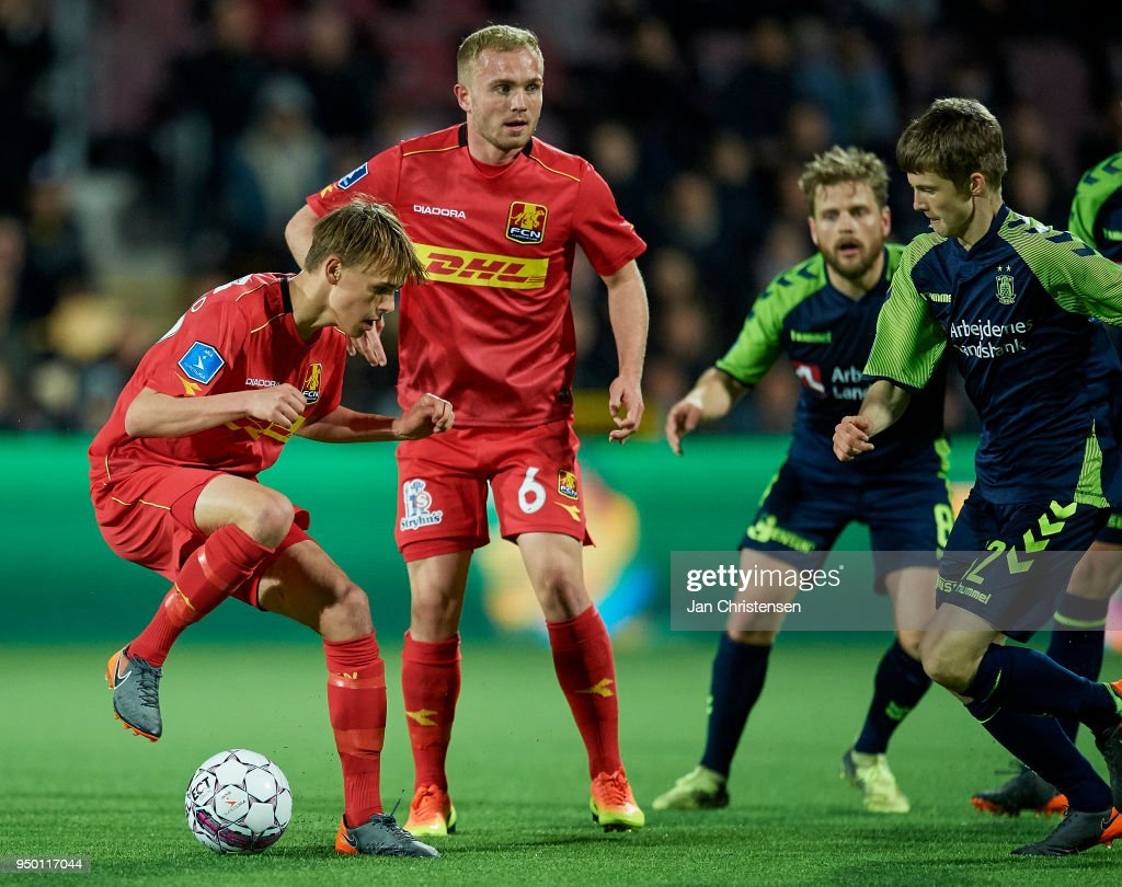 Mikkel Damsgaard of FC Nordsjalland in action during the Danish Alka Superliga match between FC Nordsjalland and Brondby IF at Right to Dream Park on April 22, 2018 in Farum, Denmark.