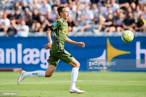 Mikkel Damsgaard of FC Nordsjalland in action during the Danish Superliga match between AGF Arhus and FC Nordsjalland at Ceres Park on July 22 2018...