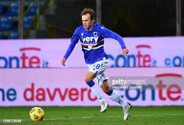 Mikkel Damsgaard of US Sampdoria in action during the Serie A match between Parma Calcio and UC Sampdoria at Stadio Ennio Tardini on January 24, 2021...