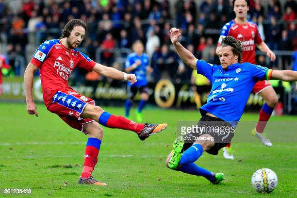 Mikkel Diskerud of IFK Goteborg and Fredrik Liverstam of Halmstad BK during the allsvenskan match between Halmstad BK and IFK Goteborg at Orjans Vall...