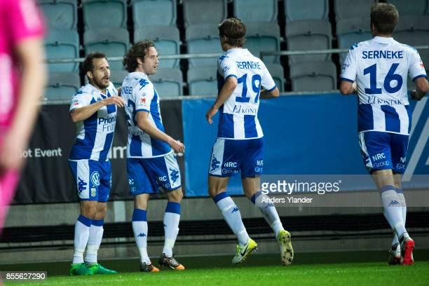 Mikkel Diskerud of IFK Goteborg celebrates with team mates after scoring during the Allsvenskan match between IFK Goteborg and IK Sirius FK at Gamla...