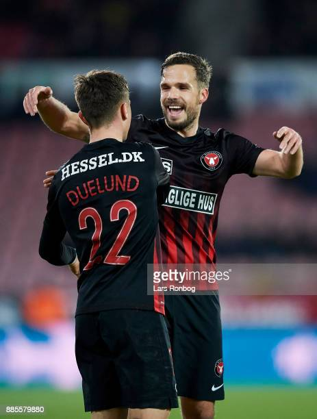 Mikkel Duelund and Filip Novak of FC Midtjylland celebrate after scoring their second goal during the Danish Alka Superliga match between FC...