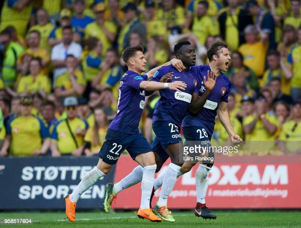 Mikkel Duelund Bubacarr Sanneh and Erik Sviatchenko of FC Midtjylland celebrate after scoring their first goal during the Danish Alka Superliga match...
