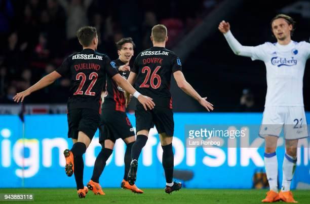 Mikkel Duelund Gustav Wikheim and Artem Dovbyk of FC Midtjylland celebrate after scoring their third goal during the Danish Alka Superliga match...