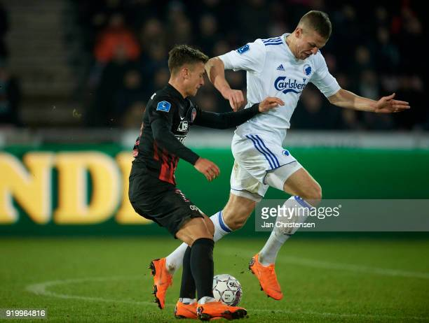 Mikkel Duelund of FC Midtjylland and Denis Vavro of FC Copenhagen compete for the ball during the Danish Alka Superliga match between FC Midtjylland...