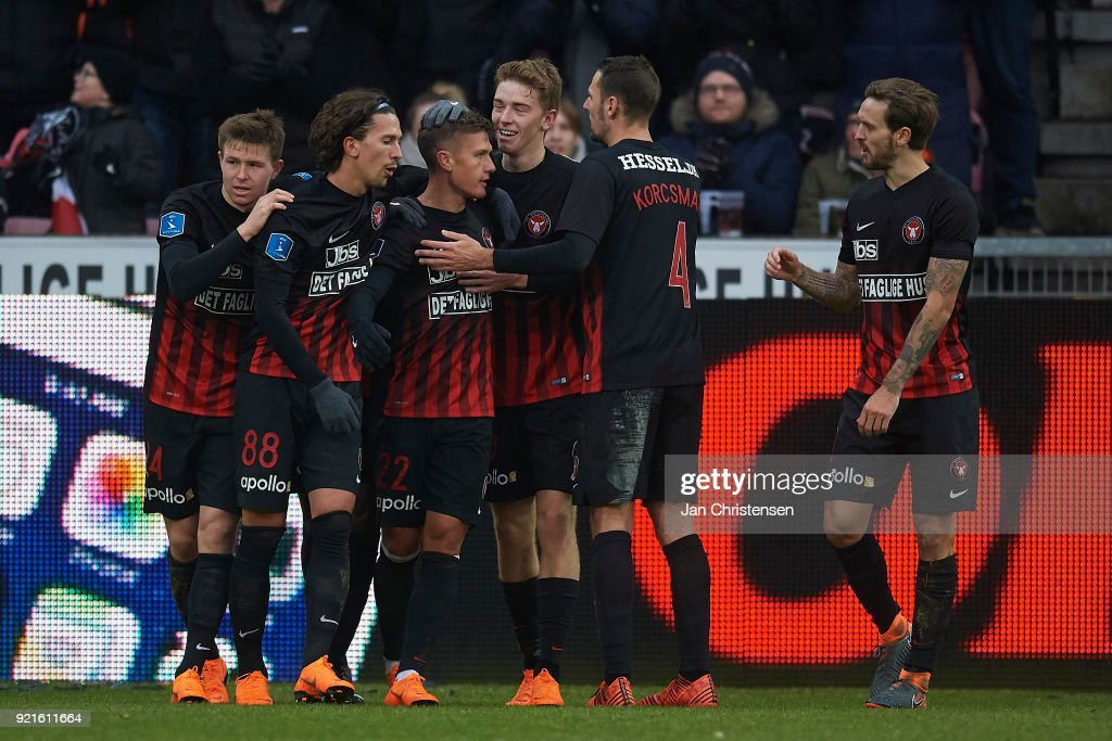 Mikkel Duelund of FC Midtjylland and teammates celebrate his 2-1 goal during the Danish Alka Superliga match between FC Midtjylland and FC Copenhagen at MCH Arena on February 18, 2018 in Herning Denmark.