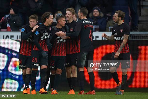 Mikkel Duelund of FC Midtjylland and teammates celebrate his 21 goal during the Danish Alka Superliga match between FC Midtjylland and FC Copenhagen...